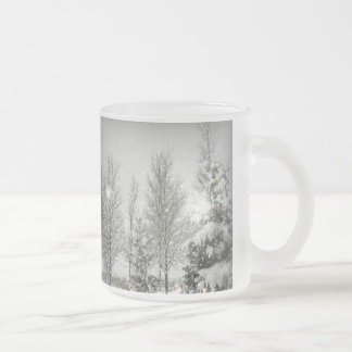 Romantic Forest Christmas trees Winter Wedding Frosted Glass Coffee Mug