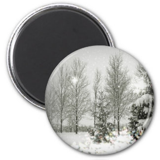 Romantic Forest Christmas trees Winter Wedding Magnet
