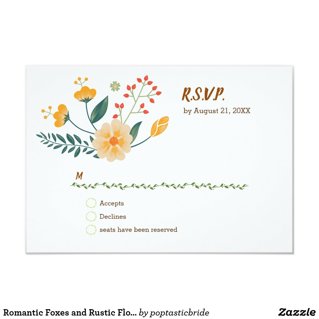 Romantic Foxes and Rustic Floral Foliage RSVP