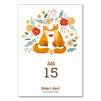 Romantic Foxes and Rustic Floral Foliage Wedding Card