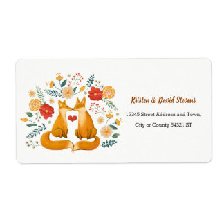 Romantic Foxes and Rustic Floral Foliage Wedding Label