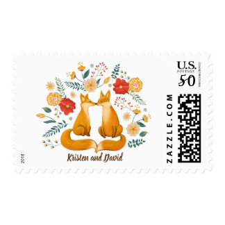 Romantic Foxes and Rustic Floral Foliage Wedding Postage