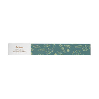 Romantic Foxes and Rustic Floral Foliage Wedding Wrap Around Address Label
