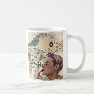 romantic french bird great gatsby girl fashionista coffee mug