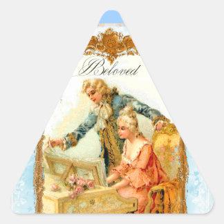 Romantic French Couple & Harpsicord Triangle Sticker