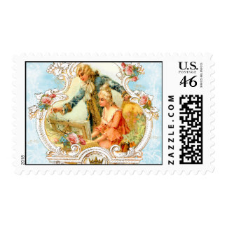 Romantic French Couple Postage Stamps
