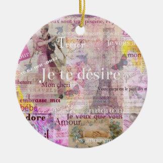 Romantic French Love Phrases Vintage Paris Art Ceramic Ornament