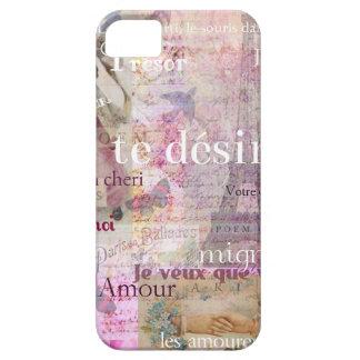 Romantic French Love Phrases Vintage Paris Art iPhone SE/5/5s Case