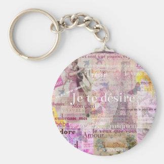 Romantic French Love Phrases Vintage Paris Art Basic Round Button Keychain