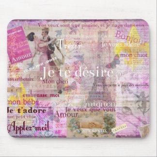 Romantic French Love Phrases Vintage Paris Art Mousepads