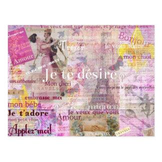 Romantic French Love Phrases Vintage Paris Art Postcard