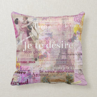 Romantic French Love Phrases Vintage Paris theme Throw Pillow