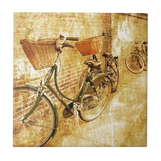 Romantic French Modern Vintage Paris Bicycle Tile
