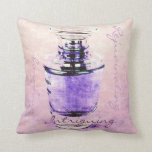 romantic French perfume bottle with script Throw Pillow