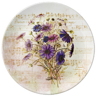 Romantic French Purple Bouquet Musical Collage Porcelain Plate