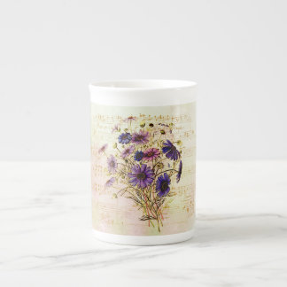 Romantic French Purple Bouquet Musical Collage Tea Cup