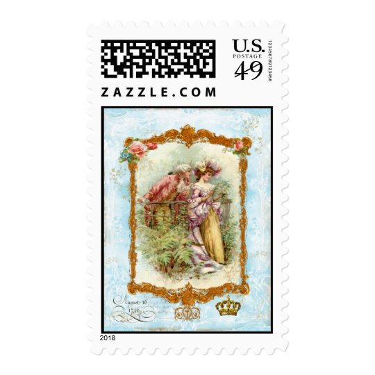 Romantic French Regency Couple Postage