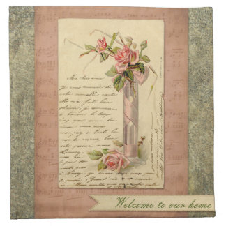 Romantic French Vintage Pink Rose Napkin