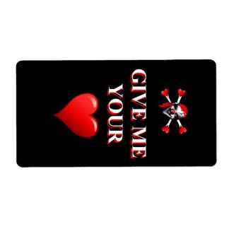 Romantic funny pirate ad red love heart label