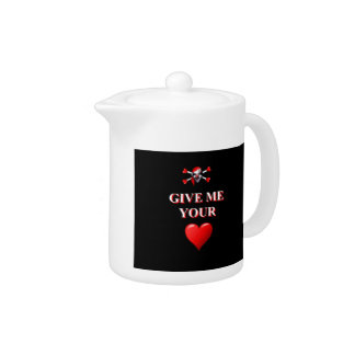 Romantic funny pirate ad red love heart teapot