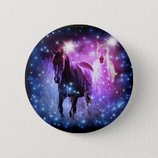 Romantic Galaxy blue purple stars Galloping Horses Button