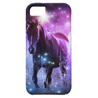Romantic Galaxy blue purple stars Galloping Horses iPhone SE/5/5s Case