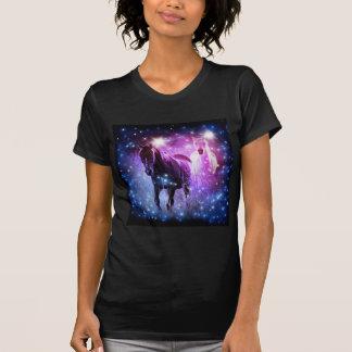 Romantic Galaxy blue purple stars Galloping Horses T-Shirt