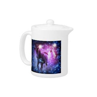Romantic Galaxy blue purple stars Galloping Horses Teapot