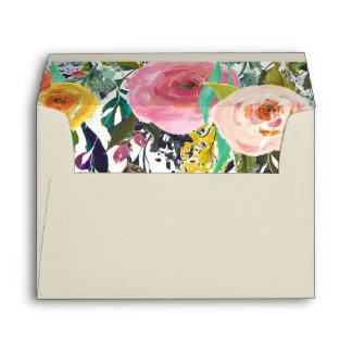 Romantic Garden Colorful Flowers Envelope