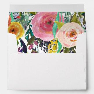 Romantic Garden Colorful Flowers Envelope