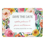 Romantic Garden Colorful Flowers save the date Card