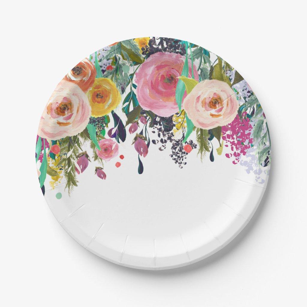 Romantic Garden Floral Watercolor Paper Plate