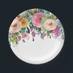 "Romantic Garden Floral Watercolor Paper Plate<br><div class=""desc"">Pink Roses romantic garden floral Watercolor</div>"