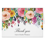 Romantic Garden Floral Watercolor Thank you Stationery Note Card