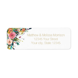 Romantic Garden Floral Watercolor Wedding Label
