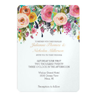 Romantic Garden Floral Wedding Card