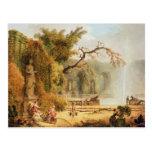 Romantic garden scene post card