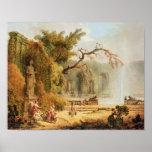 Romantic garden scene poster