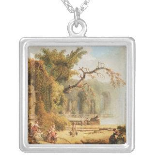 Romantic garden scene silver plated necklace