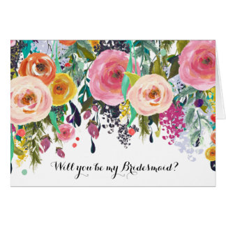 Romantic Garden Watercolor Floral Be My Bridesmaid Card