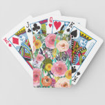 Romantic Garden Watercolor Flowers Bicycle Playing Cards