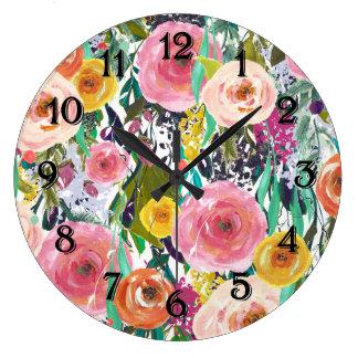 Romantic Garden Watercolor Flowers Large Clock