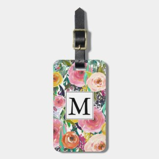 Romantic Garden Watercolor Flowers Monogram Bag Tags