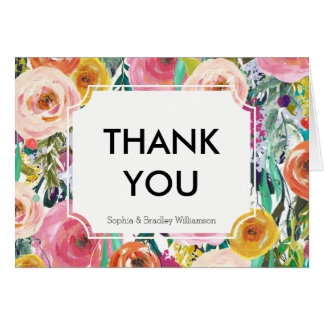 Romantic Garden Watercolor Flowers Thank you Card