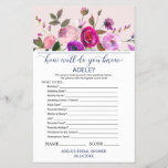 """Romantic Garden What&#39;s In Your Purse Game<br><div class=""""desc"""">This romantic garden &quot;what&#39;s in your purse&quot; game is perfect for an elegant bridal shower. The front of the game card features &quot;how well do you know the bride&quot;, and the back of the card features &quot;what&#39;s in your purse&quot;. The design features a dainty floral watercolor bouquet on a pale...</div>"""