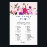 """Romantic Garden What&#39;s In Your Purse Game Flyer<br><div class=""""desc"""">This romantic garden &quot;what&#39;s in your purse&quot; game is perfect for an elegant bridal shower. The front of the game card features &quot;how well do you know the bride&quot;, and the back of the card features &quot;what&#39;s in your purse&quot;. The design features a dainty floral watercolor bouquet on a pale...</div>"""