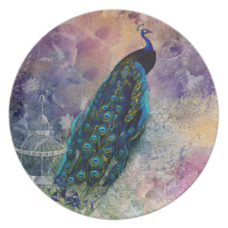 Romantic Gazebo Peacock and Watercolor Party Plates