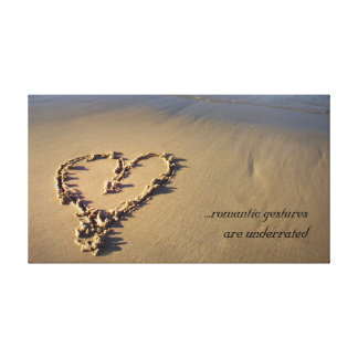 Romantic Gestures Sand Heart Canvas Print