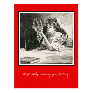 Romantic Gibson Girl and Suitor Postcard