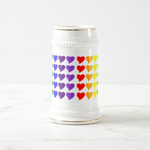 Romantic Gifts for Girls : A Rainbow of Hearts 18 Oz Beer Stein